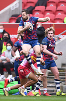 27th March 2021; Ashton Gate Stadium, Bristol, England; Premiership Rugby Union, Bristol Bears versus Harlequins; Joe Marchant of Harlequins conceded a penalty for tackling Luke Morahan of Bristol Bears in the air