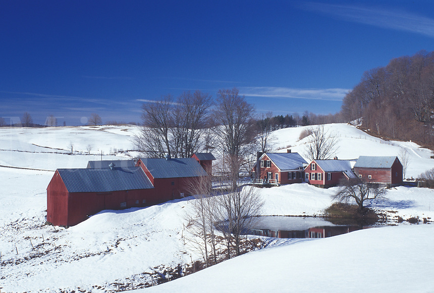 Vermont, VT, Jenne Farm in Reading in the snow in early spring.