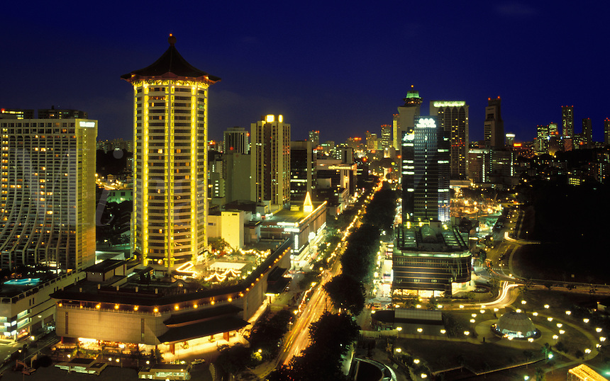 Singapore.  Orchard Road, city centre center and hotels. Evening