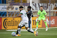 SAN JOSE, CA - SEPTEMBER 16: Eryk Williamson #30 of the Portland Timbers & Jacob Akanyirige #29 of the San Jose Earthquakes battle for the ball during a game between Portland Timbers and San Jose Earthquakes at Earthquakes Stadium on September 16, 2020 in San Jose, California.