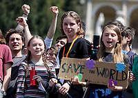 Swedish environmental activist Greta Thunberg  attends the FridayForFutureRoma protest to demand action on climate change in Rome, April 19, 2019.<br /> UPDATE IMAGES PRESS/Riccardo De Luca