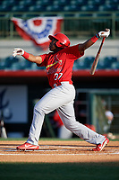 Palm Beach Cardinals center fielder Johan Mieses (37) follows through on a swing during a game against the Florida Fire Frogs on May 1, 2018 at Osceola County Stadium in Kissimmee, Florida.  Florida defeated Palm Beach 3-2.  (Mike Janes/Four Seam Images)