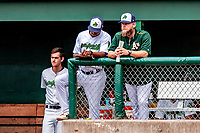 3 September 2018: Vermont Lake Monsters Manager Aaron Nieckula (right) stands in the dugout in conversation with his coaching staff during a game against the Tri-City ValleyCats at Centennial Field in Burlington, Vermont. The Lake Monsters defeated the ValleyCats 9-6 in the last game of the 2018 NY Penn League regular season. Mandatory Credit: Ed Wolfstein Photo *** RAW (NEF) Image File Available ***