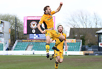 Mickey Demetriou of Newport County celebrates scoring his sides first goal of the match during the Sky Bet League Two match between Newport County and Crawley Town at Rodney Parade, Newport, Wales, UK. Saturday 03 April 2016