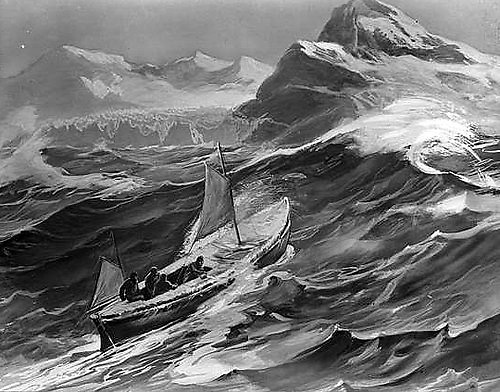 The James Caird approaching South Georgia at the conclusion of her incredible voyage from Elephant Island