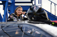 Sept. 28, 2012; Madison, IL, USA: NHRA pro mod driver Leah Pruett during qualifying for the Midwest Nationals at Gateway Motorsports Park. Mandatory Credit: Mark J. Rebilas-