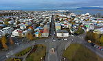 View of Reykjavik from top of Hallgrímskirkja, a Lutheran (Church of Iceland) parish church in Reykjavík, Iceland. At 73 metres (244 ft), it is the largest church in Iceland. (Bob Gathany)