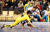 Martin Haener, Meirlan Toibekov /   /        /   <br /> / Sport / Hockey Hnhockey / World Championships Weltmeisterschaft  /  2017/2018 / 07.02.2018 / GER BRGermany vs. Kasachstan  *** Local Caption *** © pixathlon<br /> Contact: +49-40-22 63 02 60 , info@pixathlon.de