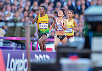 August 05, 2012: Melaine Walker of JAM competes in round one of women's 400m hurdles at the Olympic Stadium on day nine of 2012 Olympic Games in London, United Kingdom.