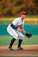 Indianapolis Indians third baseman Kevin Kramer (17) during a game against the Rochester Red Wings on July 24, 2018 at Victory Field in Indianapolis, Indiana.  Rochester defeated Indianapolis 2-0.  (Mike Janes/Four Seam Images)