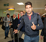 Mexican striker Eduardo Herrera arrives at Glasgow airport to have signing talks with Rangers FC