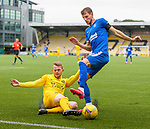 16.08.2020 Livingston v Rangers: Nicky Devlin tackles Borna Barisic