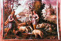 """Vatican:  Loggia of Raphael--2nd floor of Apostolic Palace of the Vatican.  Fresco by Raphael of """"The Meeting of Jacob and Rachel""""."""