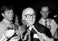 Montreal Mayor Jean Drapeau attend the Rene Levesque tribute at Montreal's convention centre, October 2nd,1985.<br /> <br /> File Photo : Agence Quebec Presse - Pierre Roussel