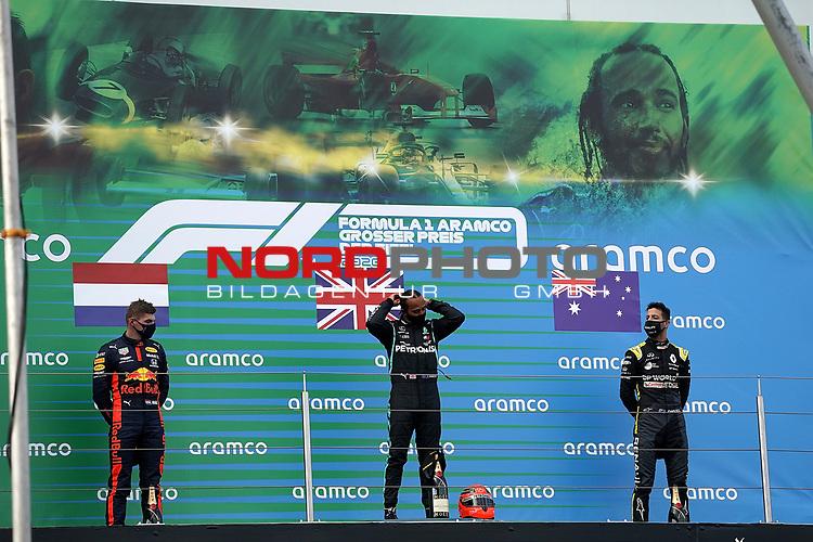 11.10.2020, Nürburgring, Nürburg, Formula 1 Aramco Grosser Preis der Eifel 2020<br /> , im Bild<br />Podium:<br />Sieger Lewis Hamilton (GB#44), Mercedes-AMG Petronas F1 Team mit dem Helm von Michael Schumacher, 2.Platz für Max Verstappen (NEL#33), Aston Martin Red Bull Racing, 3.Platz für Daniel Ricciardo (AUS#3), Renault DP World F1 Team<br /> <br /> Foto © nordphoto / Bratic