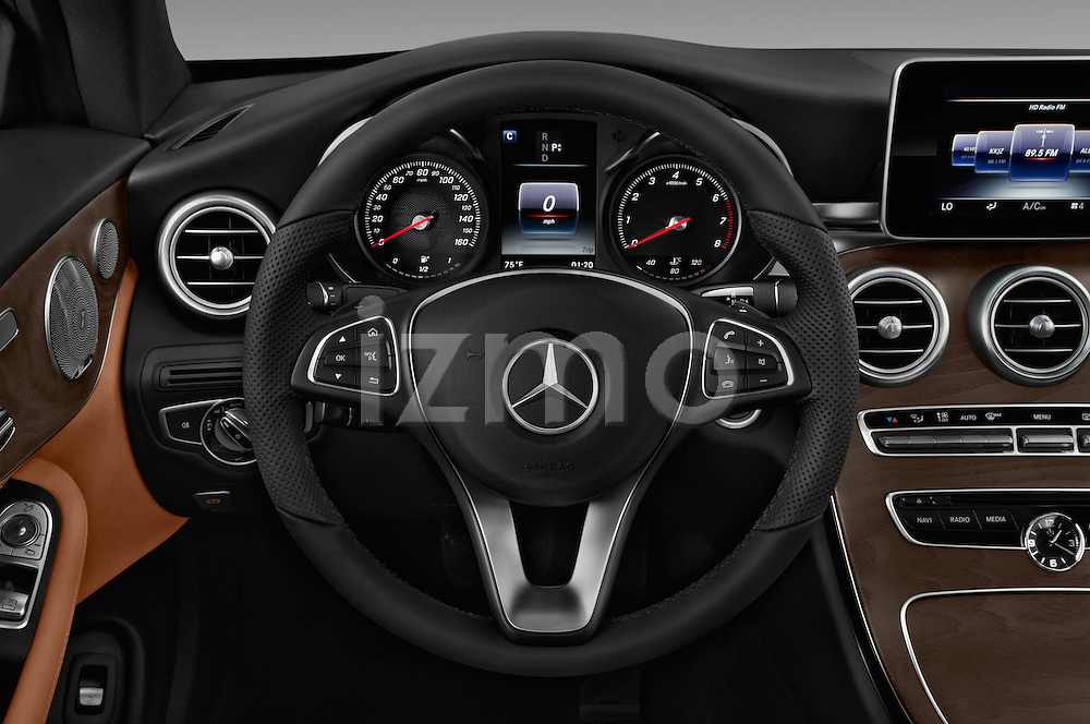 Car pictures of steering wheel view of a 2017 Mercedes Benz C-Class C300 2 Door Coupe Steering Wheel