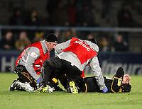 Photo: Richard Lane/Richard Lane Photography. London Wasps v Bayonne. Amlin Challenge Cup. 15/12/2011. Wasps' John Hart receives medical treatment for an injury.