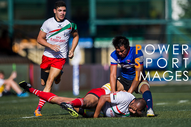 UAE plays Chinese Taipei during the ARFU Asian Rugby 7s Round 1 on August 24, 2014 at the Hong Kong Football Club in Hong Kong, China. Photo by Xaume Olleros / Power Sport Images