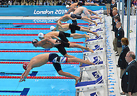 July 30, 2012..ROBBIE RENWICK of GBR, RYAN LOCHTE of USA, TEAHWAN PARK of KOR, YANG SUN of CHN, YANNICK AGNEL of FRA, PAUL BIEDERMANN of GER, DANILA IZOTOV of RUS, and THOMAS FRASER HOLMES of AUS push off the starting block to compete in men's 200m Individual Medley Final at the Aquatics Center on day three of 2012 Olympic Games England in London, United Kingdom...
