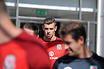 Real Madrid signing Gareth Bale leaving the St Davids Hotel in Cardiff today to head off for training with the Wales Football squad.