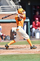 Tennessee Volunteers designated hitter Benito Santiago (31) swings at a pitch during a game against the South Carolina Gamecocks at Lindsey Nelson Stadium on March 18, 2017 in Knoxville, Tennessee. The Gamecocks defeated Volunteers 6-5. (Tony Farlow/Four Seam Images)