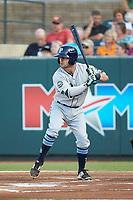 Jake Palomaki (1) of the Princeton Rays at bat against the Pulaski Yankees at Calfee Park on July 14, 2018 in Pulaski, Virginia. The Rays defeated the Yankees 13-1.  (Brian Westerholt/Four Seam Images)