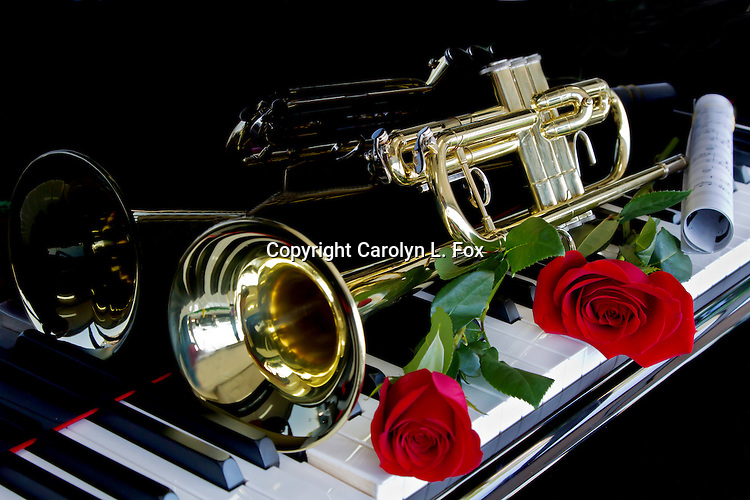 Roses and a trumpet lay on a piano.