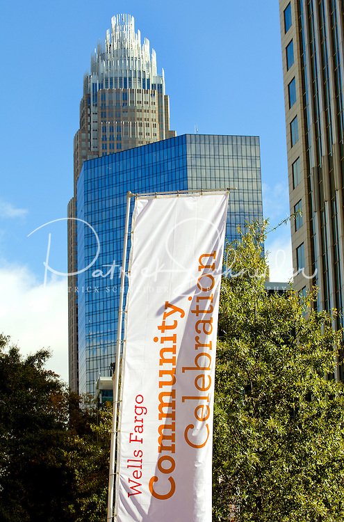 A sunny day and clear skies graced visitors during the Wells Fargo Community Celebration, held October 29, 2011 in downtown Charlotte NC. The daylong festival took place in the streets, in public atriums and in downtown museums, which offered free admission all day long. Wells Fargo, which this month completed its conversion from Wachovia, picked up the bill.