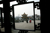 CHINA. Hubei Province. Wuhan. Inside the The Yellow Crane Tower which looks over the Yangtze and the city of Wuhan.Wuhan (population 4.3 million) is a sprawling city that sits on both sides of the Yangtze River.  2008