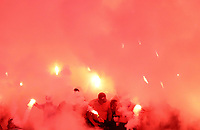 Club Atletico de Madrid fans light flares before the start of the UEFA Europa League final football match between Olympique de Marseille and Club Atletico de Madrid at the Groupama Stadium in Decines-Charpieu, near Lyon, France, May 16, 2018.<br /> UPDATE IMAGES PRESS/Isabella Bonotto