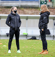 Magali Dinon of Woluwe (in black) pictured during the warm up before  a female soccer game between FC Femina White Star Woluwe and Sporting Charleroi on the 10 th matchday of the 2020 - 2021 season of Belgian Scooore Womens Super League , Saturday 19 th of December 2020  in Woluwe , Belgium . PHOTO SPORTPIX.BE | SPP | SEVIL OKTEM