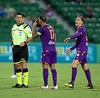 24th March 2021; HBF Park, Perth, Western Australia, Australia; A League Football, Perth Glory versus Sydney FC; Diego Castro of the Perth Glory remonstrates with the referee Alireza Faghani after Bruno Fornaroli's goal was disallowed