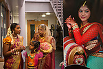 Hindu Coming of Age celebration party London Uk The display photograph is of the young woman. She is on the left wearing a veil, with relatives. She is 16yrs old. Mitcham south London Uk They  are welcoming guests to the very big Ritusuddhi, also called as Ritu Kala Samskara party.