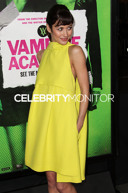 """LOS ANGELES, CA - FEBRUARY 04: Olga Kurylenko at the Los Angeles Premiere Of The Weinstein Company's """"Vampire Academy"""" held at Regal Cinemas L.A. Live on February 4, 2014 in Los Angeles, California. (Photo by Xavier Collin/Celebrity Monitor)"""