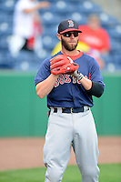 Boston Red Sox second baseman Dustin Pedroia #15 during a Spring Training game against the Philadelphia Phillies at Bright House Field on March 24, 2013 in Clearwater, Florida.  Boston defeated Philadelphia 7-6.  (Mike Janes/Four Seam Images)