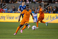 SAN JOSE, CA - JULY 24: Darwin Quintero #23 of the Houston Dynamo dribbles the ball during a game between San Jose Earthquakes and Houston Dynamo at PayPal Park on July 24, 2021 in San Jose, California.