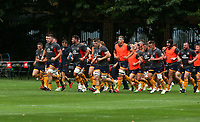 Thursday 9th September 20218 <br /> <br /> Alan O'Connor leads Ulster off after the warm-up during the pre-season friendly between Saracens and Ulster Rugby at the Honourable Artillery Company Grounds, Armoury House, London, England. Photo by John Dickson/Dicksondigital