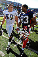 21 October 2007: Buffalo Bills wide receiver Lee Evans (83) walks off the field with Baltimore Ravens linebacker Nick Greisen (59) after a game against the Baltimore Ravens at Ralph Wilson Stadium in Orchard Park, NY. The Bills defeated the Ravens 19-14 in front of 70,727 fans marking their second win of the 2007 season...Mandatory Photo Credit: Ed Wolfstein Photo