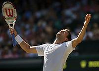 England, London, 28.06.2014. Tennis, Wimbledon, AELTC, Men's semifinal between Novak Djokovic  (SRB) and Grigor Dimitrov (BUL), Pictured: Grigor Dimitrov is frustrated<br /> Photo: Tennisimages/Henk Koster