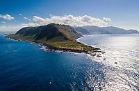 Aerial view of Ka'ena Point, Ka'ena Point State Park, O'ahu.