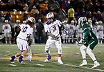 TD Ierlan (#3) watches Troy Reh (#10) pick up a ground ball on the faceoff as UAlbany Men's Lacrosse defeats Binghamton 18-7 on Apr. 20 at Casey Stadium.