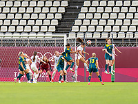 KASHIMA, JAPAN - JULY 27: Alex Morgan #13 of the USWNT heads the ball during a game between Australia and USWNT at Ibaraki Kashima Stadium on July 27, 2021 in Kashima, Japan.