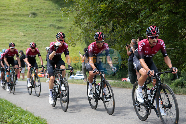 The peloton led by Team Ineos climb the 1st Col during Stage 3 of the Route d'Occitanie 2020, running 163.5km from Saint-Gaudens to Col de Beyrède, France. 3rd August 2020. <br /> Picture: Colin Flockton | Cyclefile<br /> <br /> All photos usage must carry mandatory copyright credit (© Cyclefile | Colin Flockton)