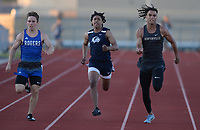 Joshua Workman (from left) of Rogers pulls away Friday, April 30, 2021, from Nick Bell of Bentonville West and Chas Nimrod of Bentonville as they come in at the finish in the 200 meters during the 6A-West Conference Track and Field Meet at the Tiger Athletic Complex in Bentonville. Visit nwaonline.com/210501Daily/ for today's photo gallery. <br /> (NWA Democrat-Gazette/Andy Shupe)