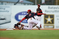 Batavia Muckdogs second baseman Samuel Castro (5) tags Ernie Clement (24) out while attempting to steal second during a game against the Mahoning Valley Scrappers on August 16, 2017 at Dwyer Stadium in Batavia, New York.  Batavia defeated Mahoning Valley 10-6.  (Mike Janes/Four Seam Images)