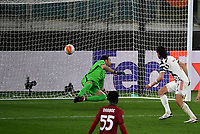 Football: Uefa Europa League - semifinal 2nd leg AS Roma vs Manchester United Olympic Stadium. Rome, Italy, May 6, 2021.<br /> Manchester United's Edinson Cavani (R) looks the ball entering in the net after scoring his second goal in the match in spite of Roma' goalkeeper Antonio Mirante (L)   during the Europa League football match between Roma and Manchester United at Rome's Olympic stadium, Rome, on May 6, 2021.  <br /> UPDATE IMAGES PRESS/Isabella Bonotto