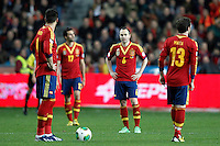 Spain's Alvaro Negredo, Alvaro Arbeloa, Andres Iniesta and Juan Mata dejected during international match of the qualifiers for the FIFA World Cup Brazil 2014.March 22,2013.(ALTERPHOTOS/Acero)