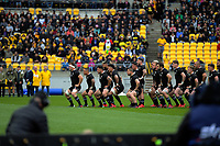 The All Blacks perform the haka during the Bledisloe Cup rugby union match between the New Zealand All Blacks and Australia Wallabies at Sky Stadium in Wellington, New Zealand on Sunday, 11 October 2020. Photo: Dave Lintott / lintottphoto.co.nz