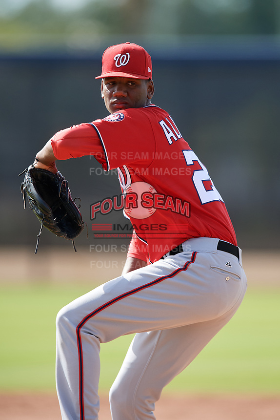 Washington Nationals pitcher Elvis Alvarado (26) doing pitching drills before a Minor League Spring Training game against the Miami Marlins on March 28, 2018 at FITTEAM Ballpark of the Palm Beaches in West Palm Beach, Florida.  (Mike Janes/Four Seam Images)