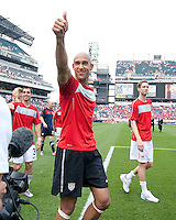 USA's Tim Howard waves to the crowd after an international friendly tune up match against Turkey for the 2010 World Cup, at Lincoln Financial Field, in Philadelphia, PA, Saturday, May 29, 2010. USA defeated Turkey 2-1.